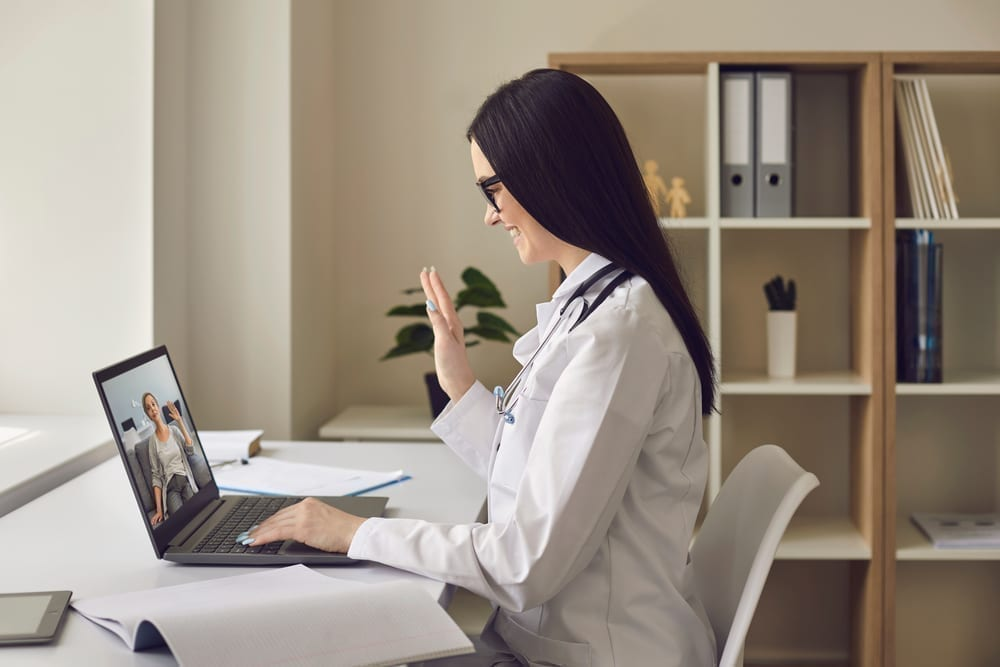 Online Doctor Gives Remote Consultation Using Video Call